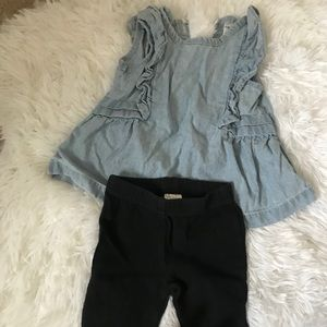 Jean Peplum Top and Black leggings for a Baby girl